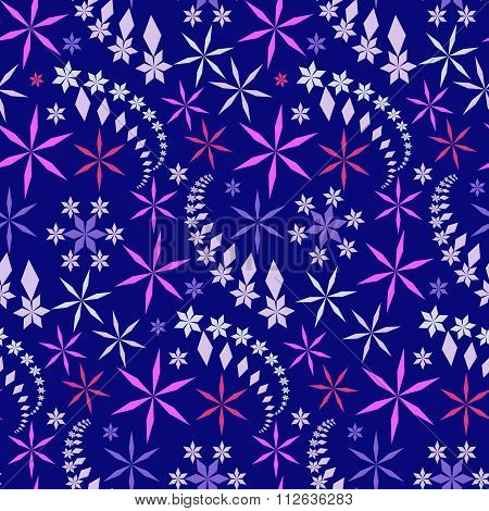Seamless christmas pattern. Snowflakes, crystals on dark blue background. Colored star silhouettes.