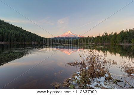 Sunset Over Mt Hood At Trillium Lake
