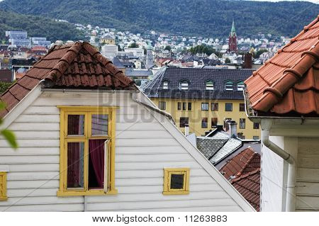 View Of The City Buildings. Bergen, Norway
