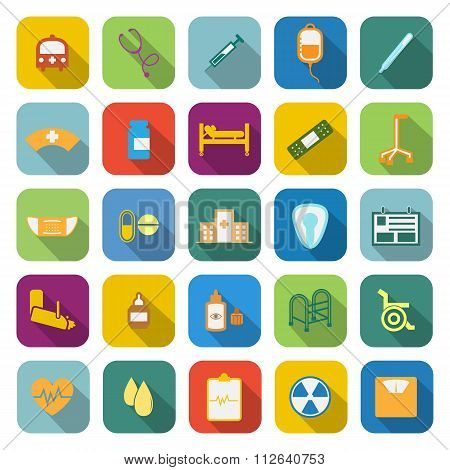 Hospital Color Icons With Long Shadow