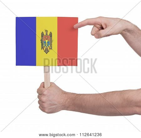 Hand Holding Small Card - Flag Of Moldova