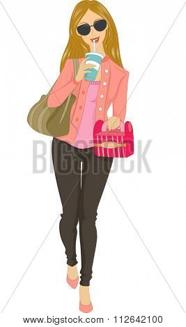 Illustration of a Girl Carrying a Box of Takeaway Food