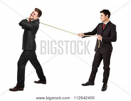 Businessmen pulling a rope