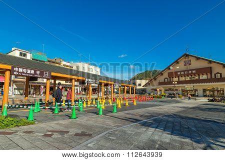 Nikko Japan - November 16 2015: Tobu- Nikko station operated by Tobu Railway served by all
