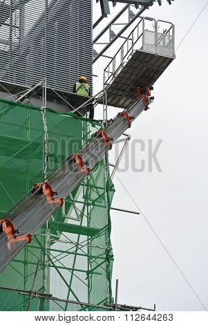 Group of construction workers using the mobile crane basket