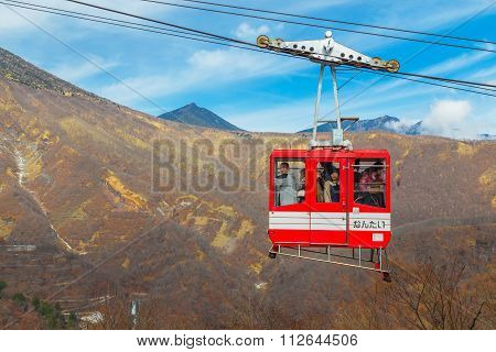 NIKKO JAPAN - NOVEMBER 16 2015: Ropeway to Akechi-daira Viewpoint the best viewpoint of the great and wonderful nature of Nikko