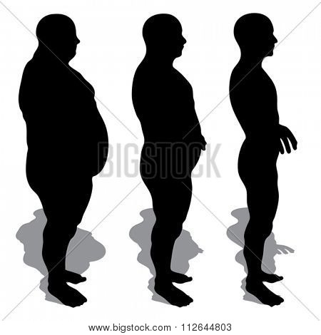 Vector concept or conceptual 3D fat overweight vs slim fit diet with muscles young man silhouette isolated on white background
