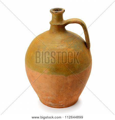 Clay Amphora Isolated On White Background