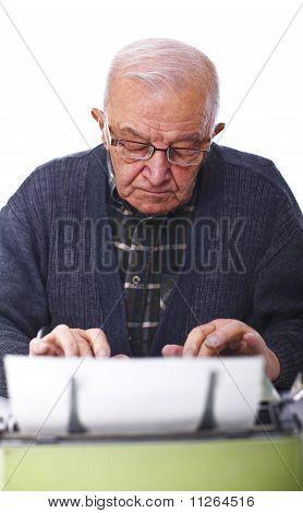 Senior With Typewriter