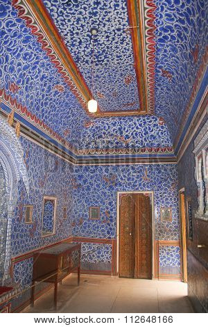 View Of Maharajahs Blue Tiled Room Of Junagarh Fort
