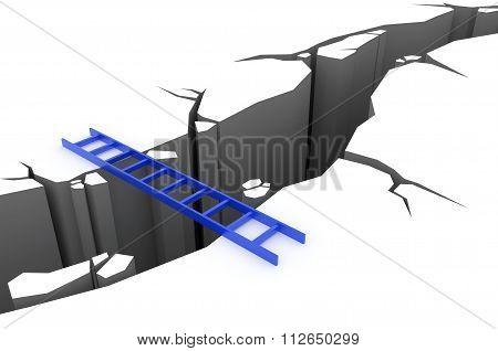 Blue Ladder Over A Pit