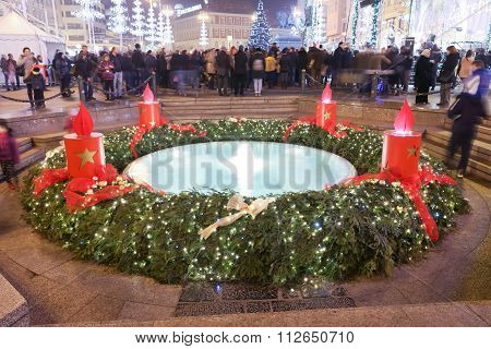 Advent Decoration On Mandusevac Water Fountain