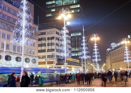 Christmas Decoration On Jelacic Square
