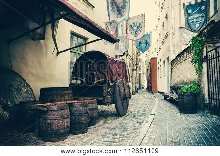 Medieval Street In The Old City Of Riga, Latvia