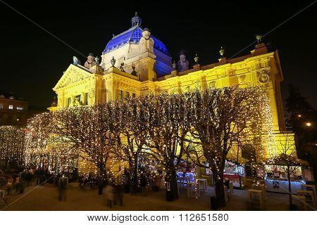 Illuminated Trees In Front Of Art Pavilion