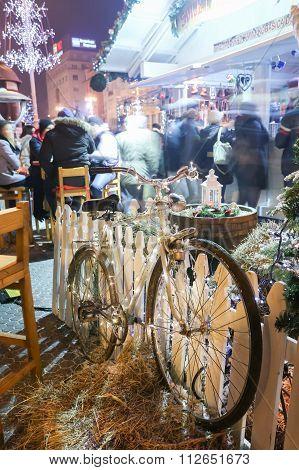 Old Bike As Decoration On Jelacic Square