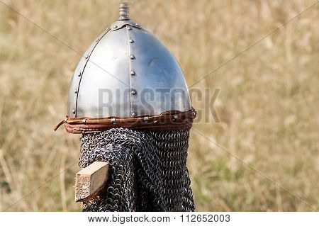 Set Helmet Medieval Chain Mail