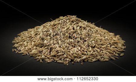Pile of Organic Fennel seed (Foeniculum Vulgare)