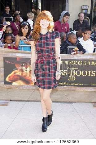 WESTWOOD, CALIFORNIA - October 23, 2011. Bella Thorne at the Los Angeles premiere of