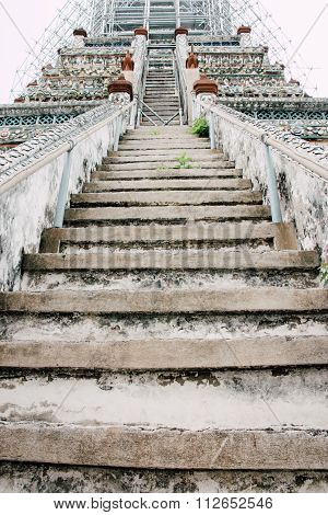 Stairs In Wat Arun Buddhist Temple In Bangkok, Thailand
