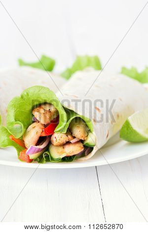 Tortilla Wraps On White Plate