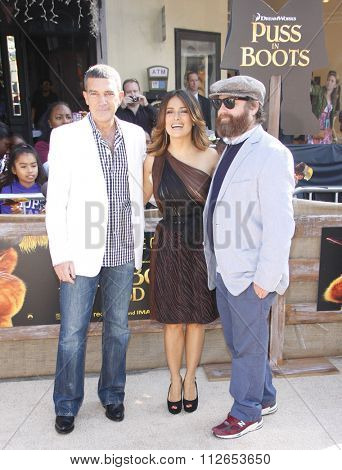 Antonio Banderas, Salma Hayek and Zach Galifianakis at the Los Angeles Premiere of