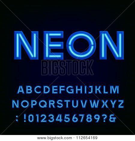 Blue neon light alphabet font.