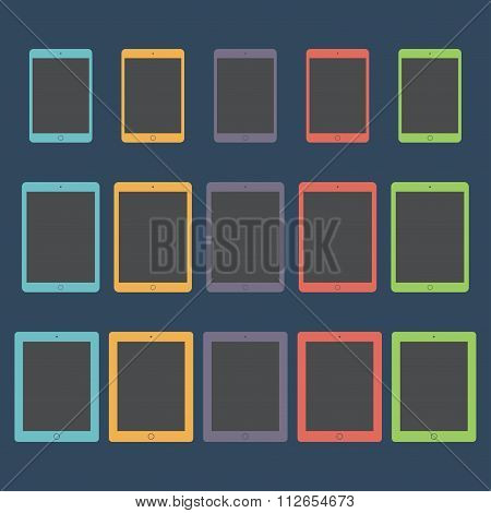 Tablet Icons Set In The Style Flat Design On The Dark Background. Stock Vector Illustration Eps10