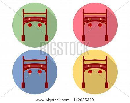 Chinese gate. Paifang. Torii gate. Flat icon set.