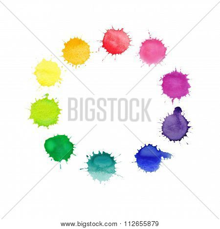 Round frame made of watercolor rainbow blobs,