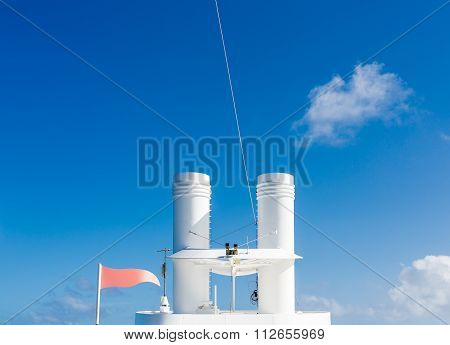 White Smokestacks Under Blue Sky
