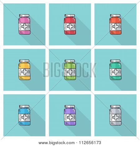 Set of hand drawn bottles with medical pills. Tablets symbol. Health care.