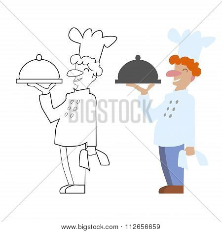 Vector unpainted and colored chef cook. Game coloring book page for children