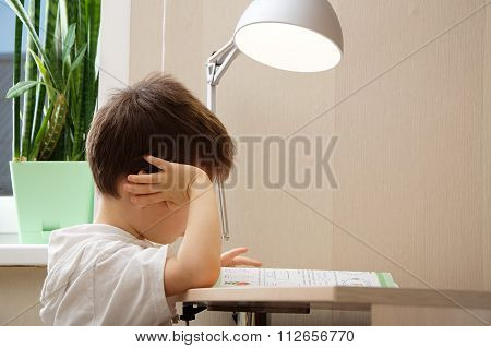 Boy Reading Book And Doing Assignment