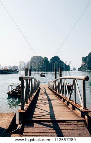 Wooden Jetty In Ha Long Bay, Vietnam