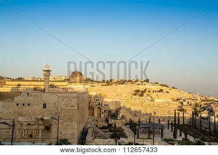 Skyline Of The Old City At Temple Mount In Jerusalem, Israel.
