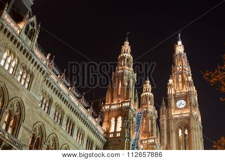 Vienna. Town Hall Facade With Night Illumination