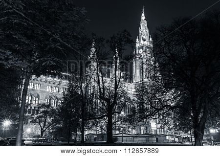 Rathaus Of Vienna At Night. Town Hall Building