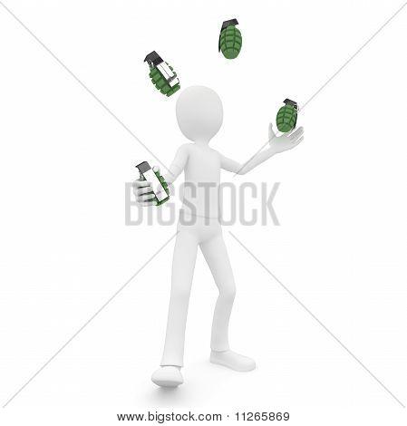 3D Man Jongleur With Grenades