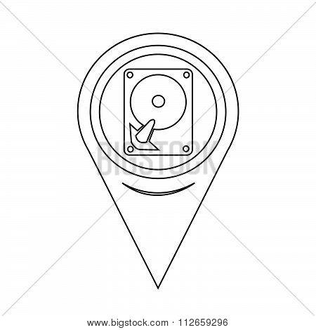 Map Pointer Hard Disc Icon