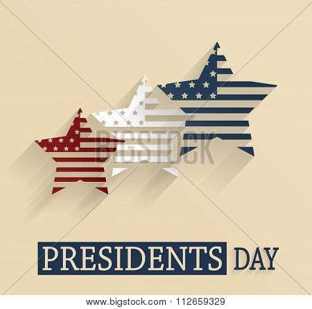 Presidents Day poster. Red, white and blue stars. Vector illustration.