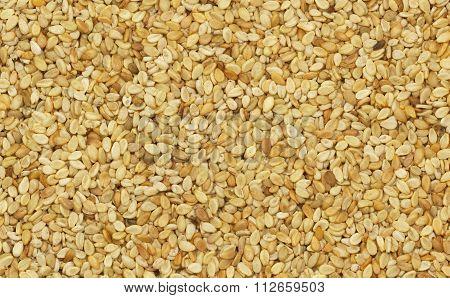 Closeup Of Untreated Sesame Seeds