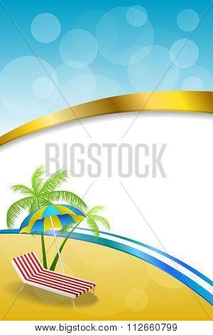 Background abstract summer beach vacation deck chair umbrella blue yellow vertical gold ribbon