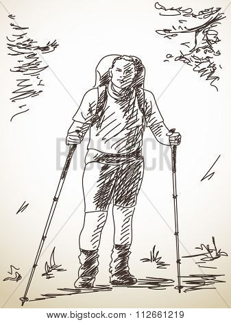 Sketch of man trekking with backpack, Hand drawn illustration