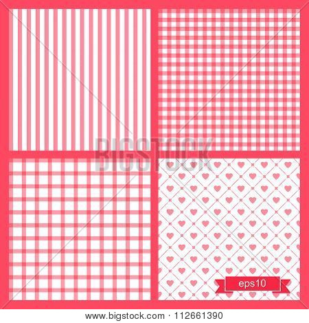 Set of four cute pink seamless patterns. Backgrounds with cages, sripes and hearts. Vector illustrat