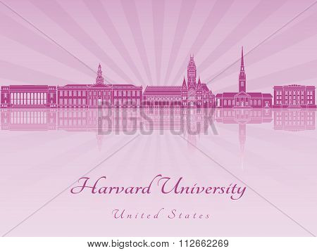 Harvard University Skyline In Purple Radiant Orchid