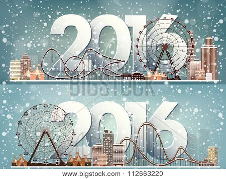 2016. Vector illustration. Ferris wheel. Winter carnival. Christmas, new year. Park with snow.