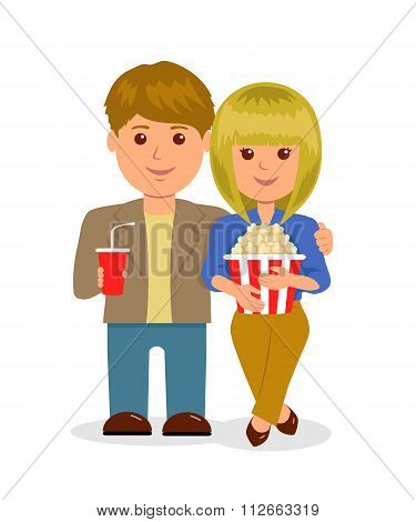 Young couple in cinema. Isolated characters, male and female with popcorn and a drink