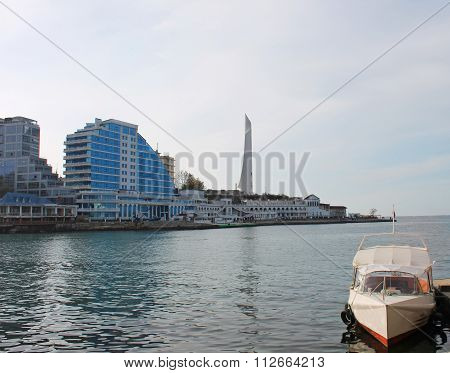 Hotel And Boat On The Coast Of Black Sea