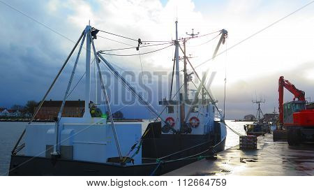 Fishing Trawler On Gray Day